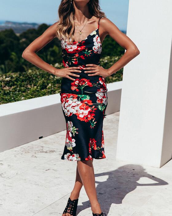 Women's Sexy Spaghetti Strap Backless Floral Long Dress