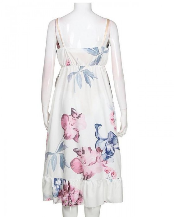Women's Sexy Deep V-Neck Irregular Hem Flounce Floral Dress