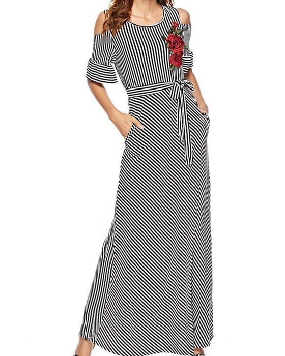 Women's Round Neck Embroidery Striped Maxi Dress With Belt