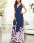 Women's Backless Solid Maxi Floral Chiffon Dress