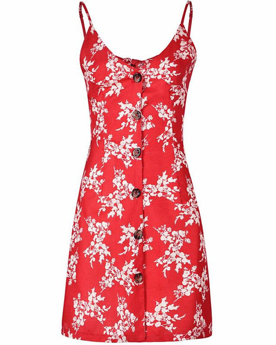 Women's Spaghetti Strap Single Breasted A-Line Floral Dress