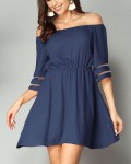 Women's Solid Off the Shoulder Half Sleeve Mini Dress