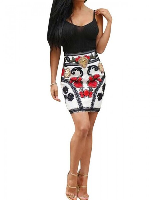 Women's Sexy Spaghetti Strap High Waisted Floral Dress