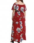 Women's High Waisted Off the Shoulder Floral Ruffle Plus Size Dress