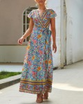 Women's Sexy V-Neck Short Sleeve Floral Maxi Dreess With Belt