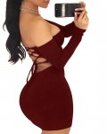 Women's Sexy Off the Shoulder Long Sleeve Bodycon Dress