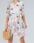 Women's V-Neck Short Sleeve Irregular Hem Floral Dress