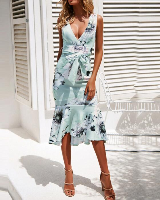 Women's Sexy V-Neck Sleeveless Floral Dress With Belt