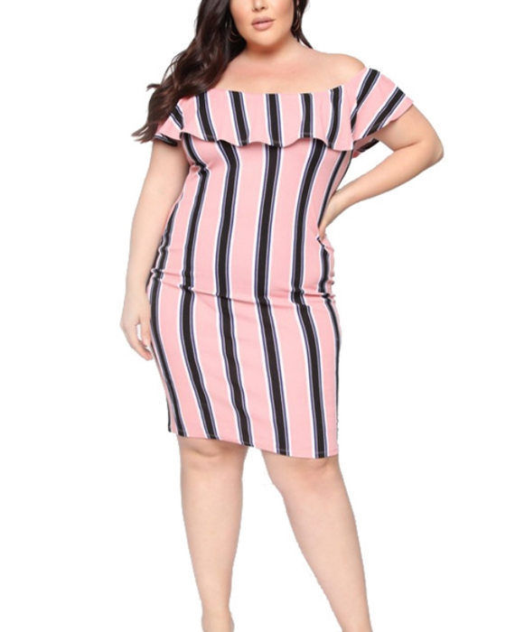 Women's Summer Stripe Ruffle Off the Shoulder Plus Size Dress