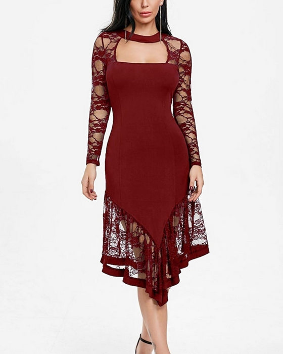 Women's Sexy Long Sleeve Lace Plus Size Cocktail Dress