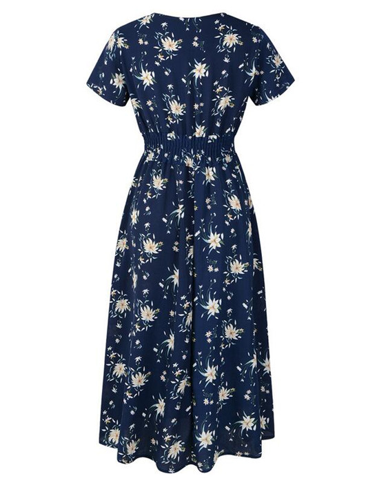 Women's Deep V-Neck Short Sleeve Floral Bohemian Dress