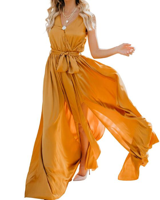 Women's Deep V-Neck Sleeveless Bohemian Dress