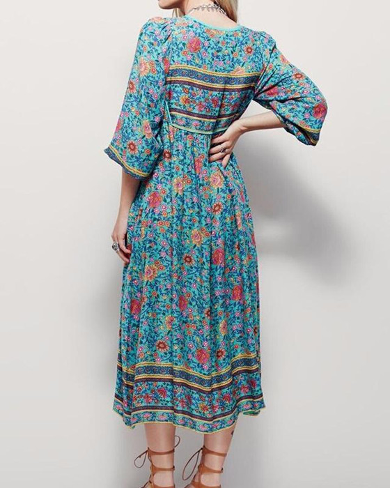 Women's V-Neck Half Sleeve Chiffon Floral Bohemian Dress