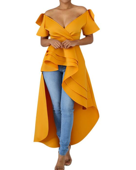Women's V-Neck Short Sleeve Irregular Hem Dress