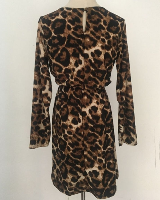Women's V-Neck Long Sleeve Leopard Dress With Bow