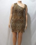 Women's Sleeveless Irregular Collar Plus Size Leopard Dress