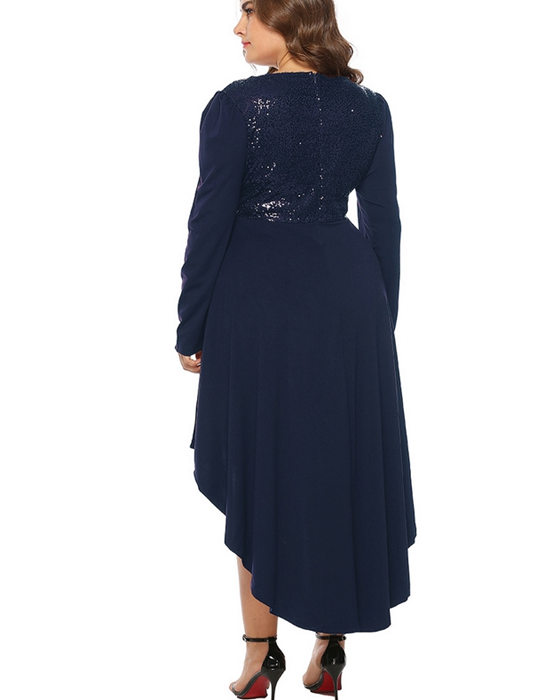 Women's Irregular Hem Sequin Plus Size Evening Dress