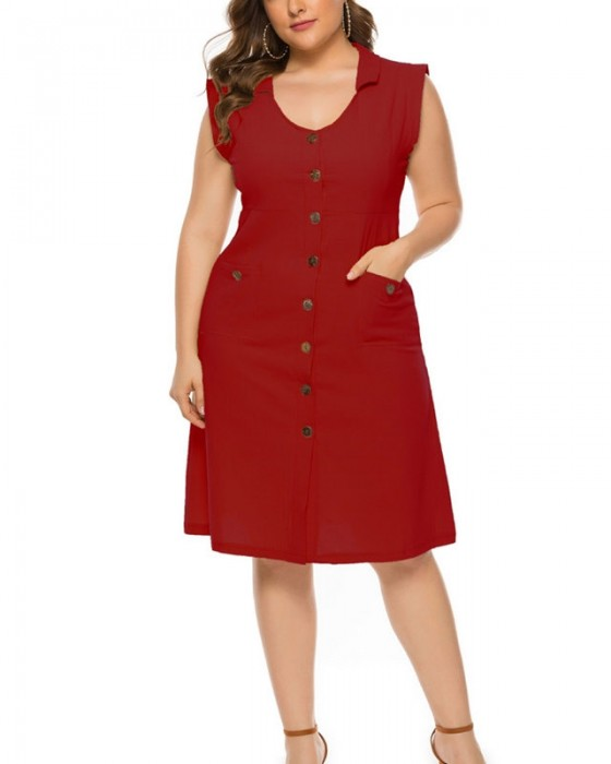 Women's Single Breasted Sleeveless Plus Size Dress With Pockets