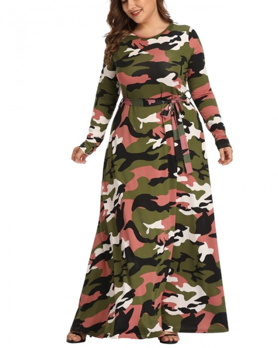 Women's Long Sleeve Long Camouflage Plus Size Dress
