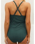 Women's Button Solid One Piece Maternity Swimsuit