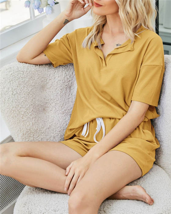 Women's Casual Solid Top Shorts Outfit Sets Loungewear