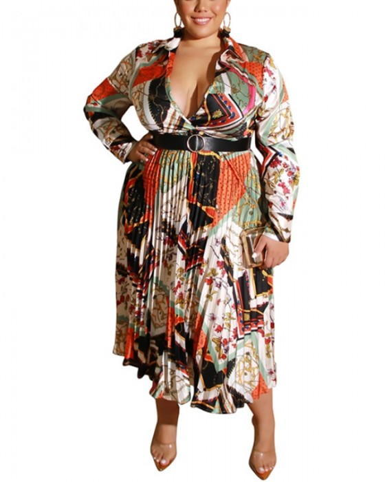 Women's Sexy Long Sleeve Pleated Deep V Plus Size Dress With Belt