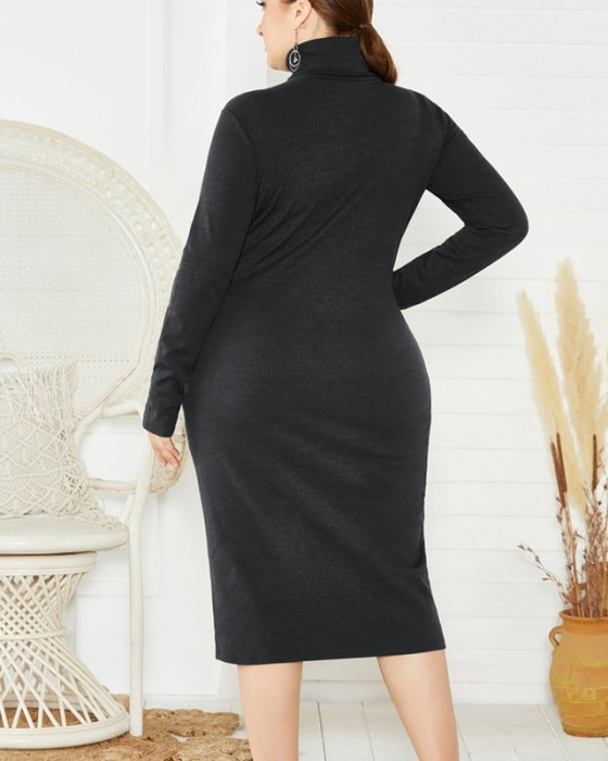 Women's Winter High Neck Long Sleeve Solid Plus Size Sweater Dress