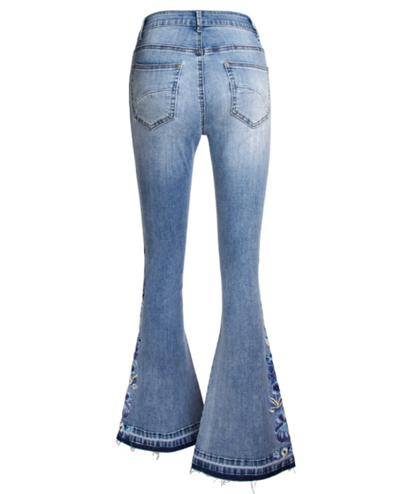 Women's Casual Embroidered Plus Size Bell Bottom Jean
