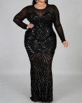 Women's Sexy Solid Sequin Long Sleeve Plus Size Evening Dress