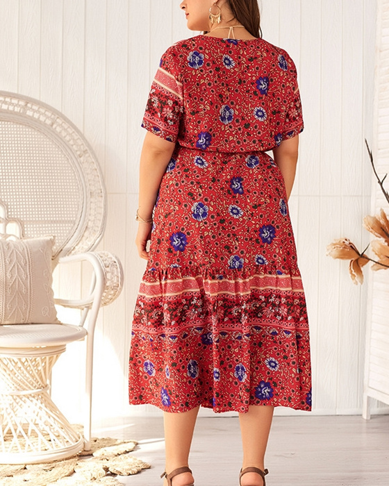 Women's Fashion V-neck Short Sleeve Plus Size Floral Dress