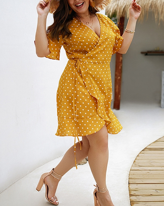 Women's Summer Irregular Ruffle Sleeve Plus Size Polka Dot Dress