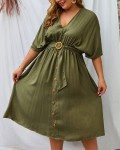 Women's Summer V-Neck Single-breasted Solid Belted Plus Size Dress