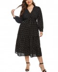 Women's Fashion Loose Long Sleeve Polka Dot Plus Size Dress