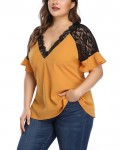 Women's Casual Lace Stitching Plus Size Top