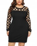 Women's Fashion Hollow Out Sleeve Plus Size Bodycon Dress