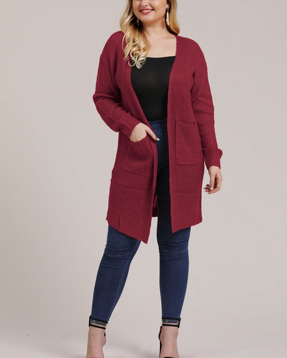 Women's Casual Solid Plus Size Sweater Coat With Pockets
