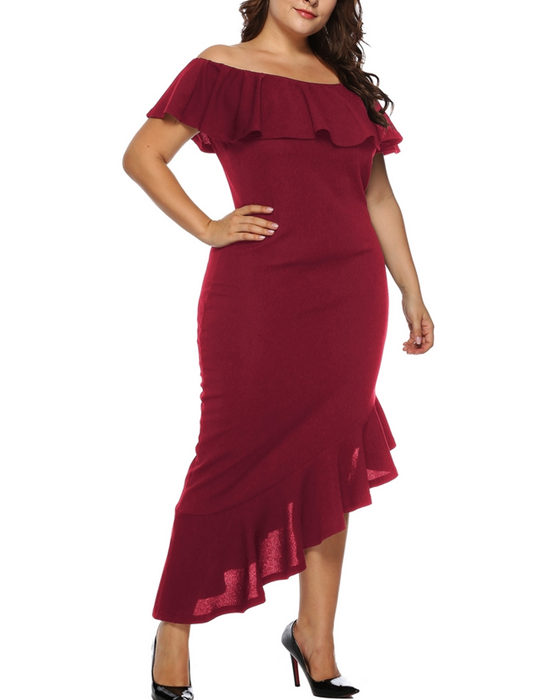 Women's Fashion Solid Off The Shoulder Ruffle Plus Size Dress
