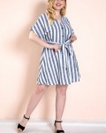 Women's Fashion Belted V-neck Stripe Plus Size Dress