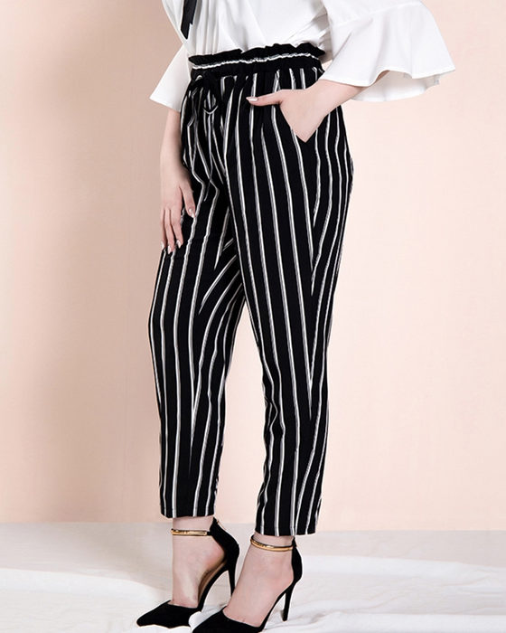 Women's Casual Belted Stripe Plus Size Pant