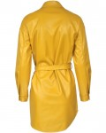 Women's Belted Long Sleeve Plus Size PU Leather Dress