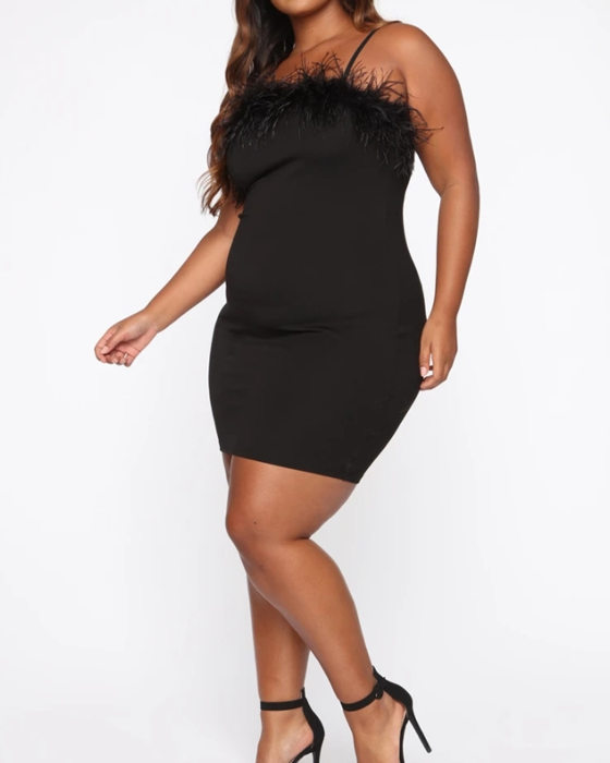 Women's Solid Spaghetti Strap Feather Plus Size Party Dress