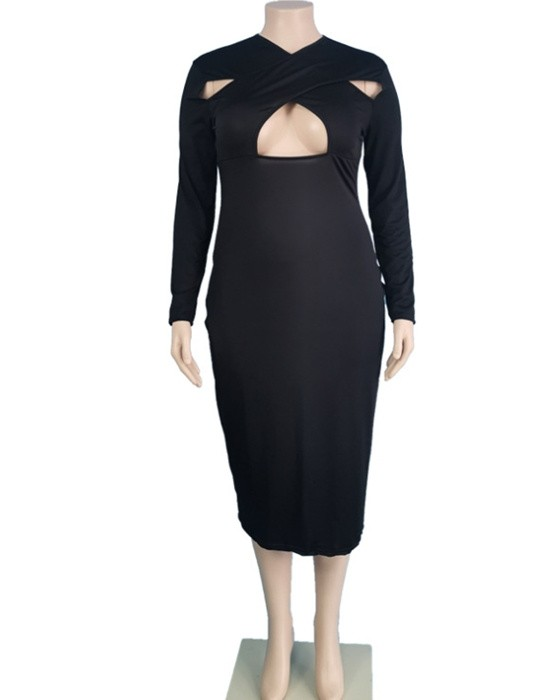 Women's Casual Solid Cut Out Plus Size Dress