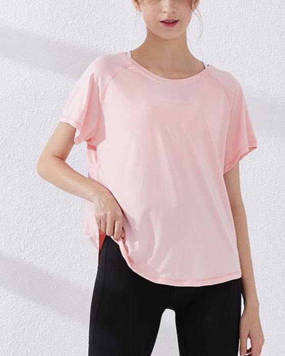 Women's Short Sleeve Quick-Dry Sports T-shirt Breathable Yoga Running Sports Top