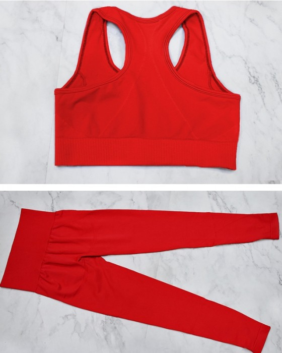 Women's Seamless Knitting Yoga Suit Sports Fitness Vest And Pant
