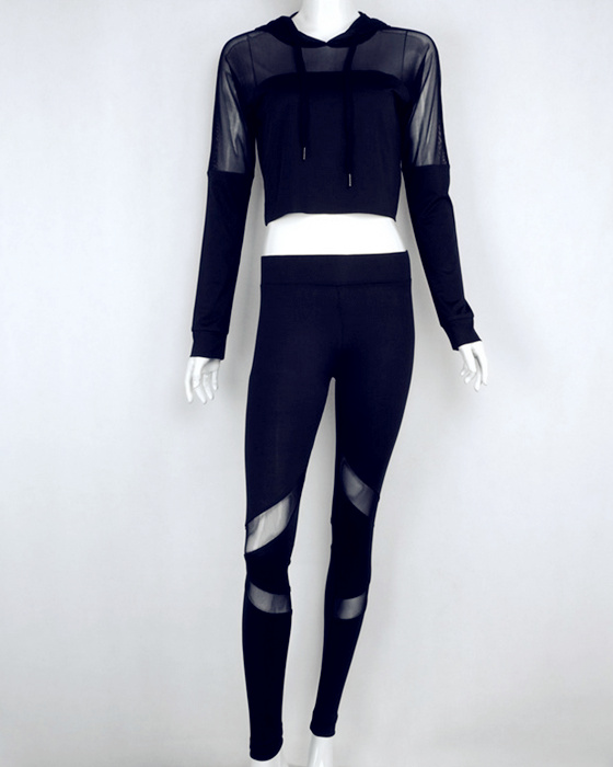 Women's Sexy Long Sleeve Hooded Mesh Stitching Sports Suit