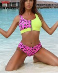 Women's Fashion Cheetah Patchwork Zipper Two Piece Swimsuit