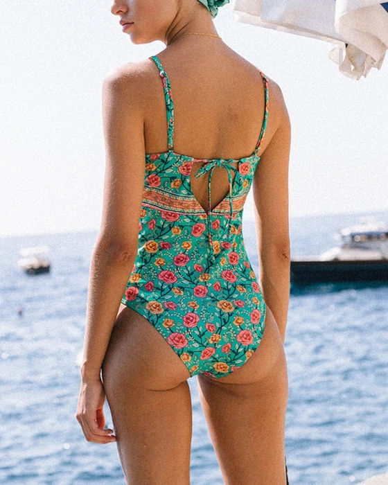 Women's Floral One Piece Swimsuit Padded Swimwear