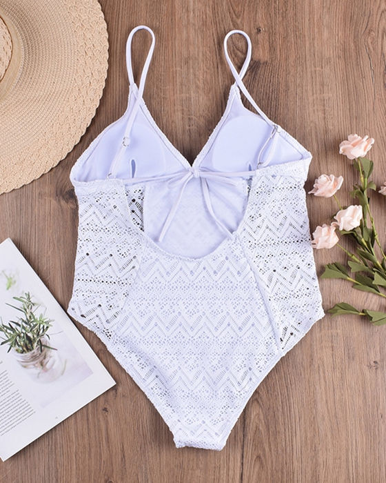 Women's Solid Lace Swimsuit One Piece Bathing Suit