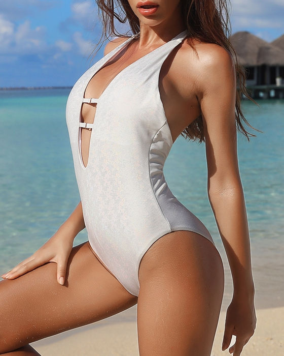 Women's Sexy Deep V Halter Backless One Piece Swimsuit