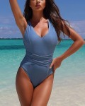 Women's Sexy Solid Cross Backless Belted One Piece Swimsuit